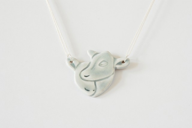 small gray calf pair necklace porcelain ceramic silver