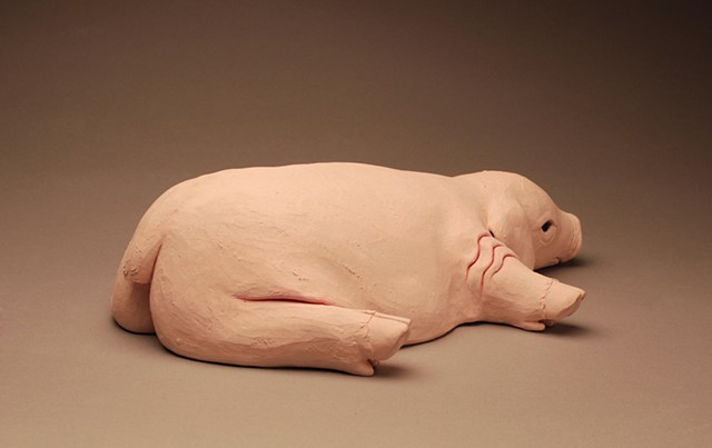 fat sad piglet unhappy mother pig depressed sculpture bacon ham