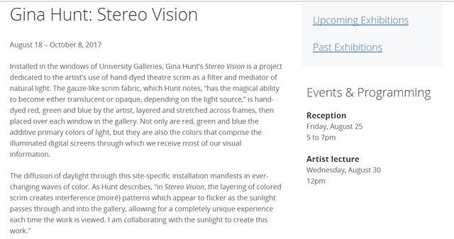 """Stereo Vision"" at University Galleries at Illinois State University / Normal, Illinois"