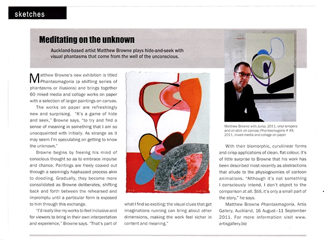 'Meditating on the Unknown'   Art News - Spring Issue 2011 ______________________________