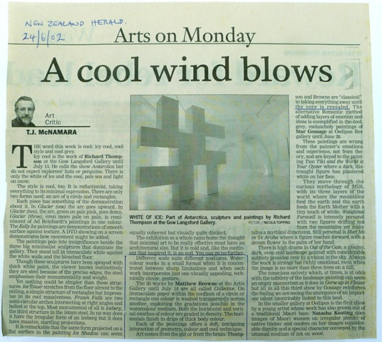 'A Cool Wind Blows'   TJ McNamara - New Zealand Herald - Arts -  Review of 'Collective'-  Artis Gallery - 21/06/2004  ______________________________