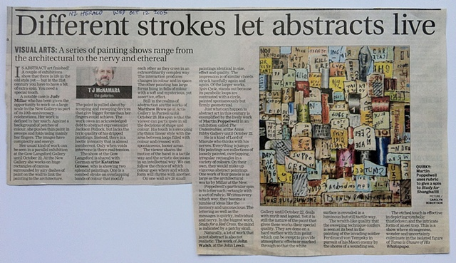 'Different Strokes Let Abstracts Live'   TJ McNamara - New Zealand Herald -   Arts - Review of 'Rollercoaster' - Artis Gallery - 12/10/2005 ______________________________