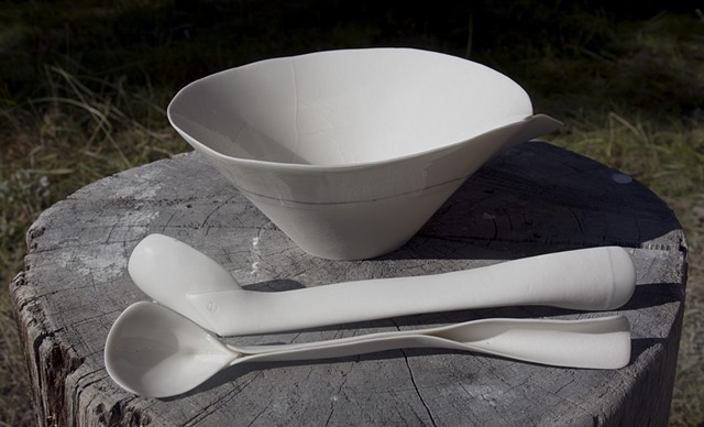 Paper clay, slab-constructed bowl and ladles, Cone 10 reduction.