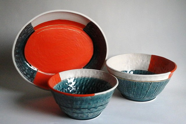 Set of 3 - Tray and 2 Bowls, Wheel-thrown