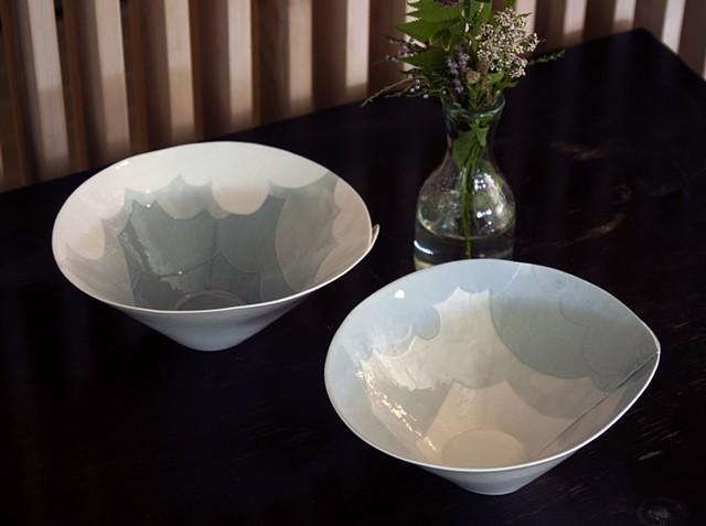 Paper clay, slab-constructed bowls, Cone 10 reduction.