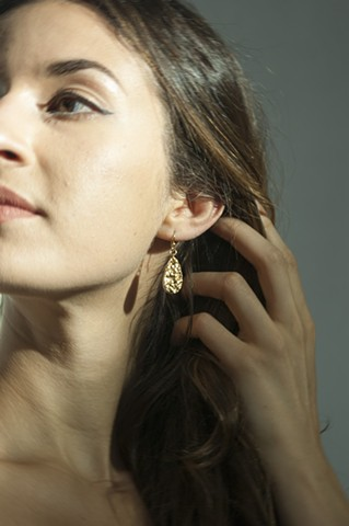 Porcelain Earrings, Gold