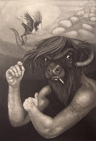 This piece was created for an exchange portfolio reimagining scenes from Dante's Inferno.  My piece depicts the mythological Minotaur, guardian of Hell's Seventh Circle, who bristles at the approach of Virgil and Dante from the boulders above. Also featur