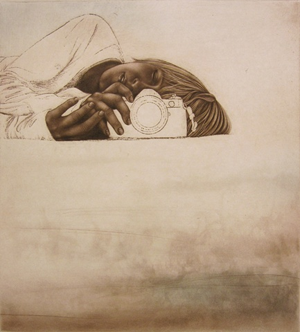 Intaglio print featuring a young girl squinting behind a camera by Carrie Lingscheit