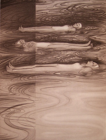 three women  in swimsuits and swim caps floating on rippled water, x-ray strip on left