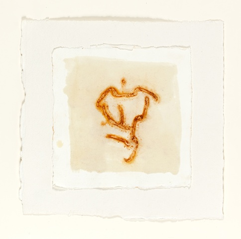 rust, beeswax on handmade paper