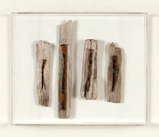 Ships nails from Putney Reach mounted on found wood from Montauk fastened with mooring threads from Holbrook Creek.