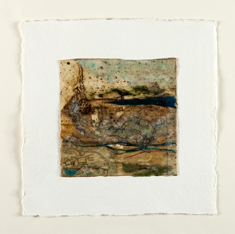 River mud, map, seaweed, sea thread on paper