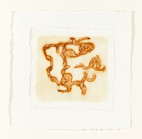 rusted chain, beeswax on handmade paper