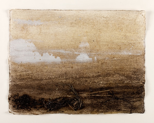 Peat, chalk, vegetation and local beeswax on handmade paper