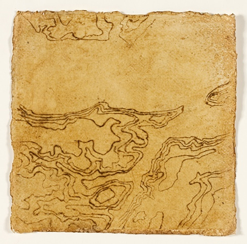 Topographical detail of map of the Stour in beeswax and mud on handmade paper