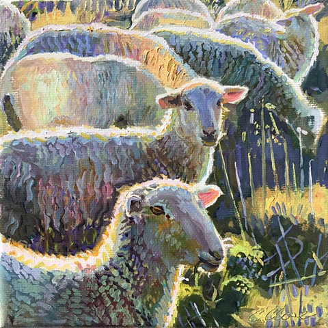 oil painting of sheep