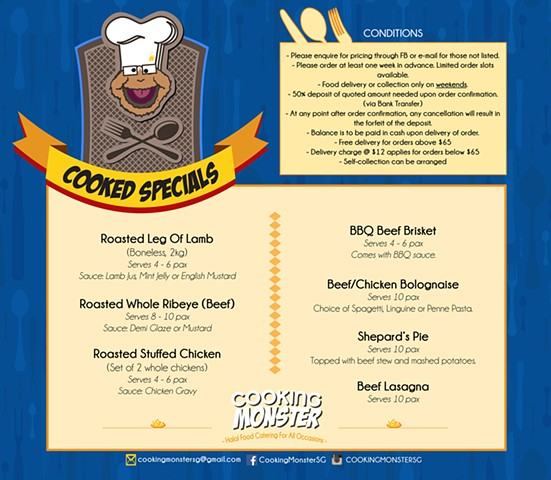 Cooking Monster Menu Page 1