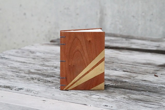 small notebook - cherry + gold leaf