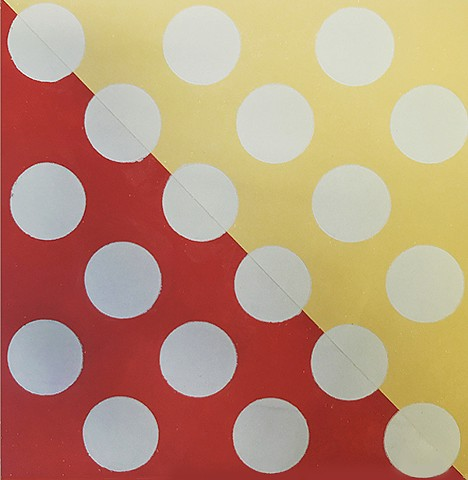 Gray Circles on Red Orange and Muted Yellow