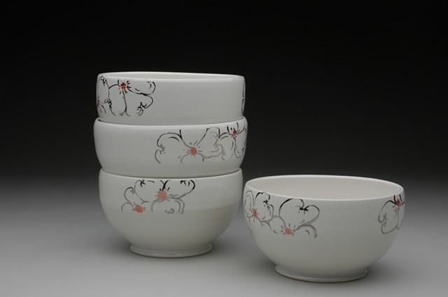Ceramic dogwood bowls