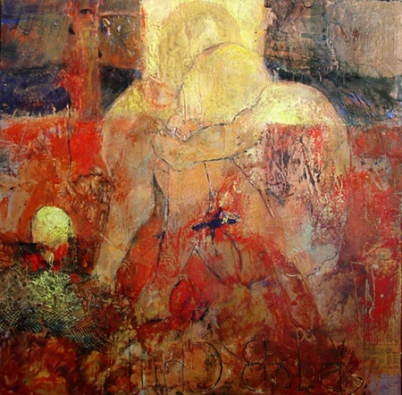 Babel's Child I encaustic