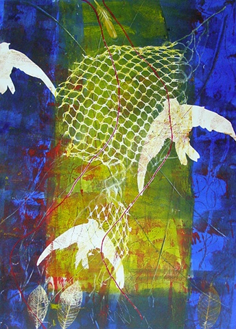Swallows I / Nets of God series collograph