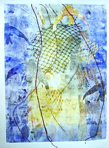 Swallows II Collograph