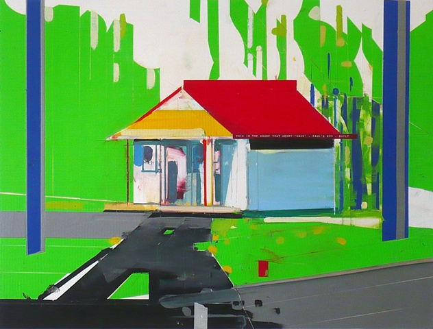 "this is the house that Henry, 'Hank', Paul's son, built duct tape, dymo & oil 28""x22"""