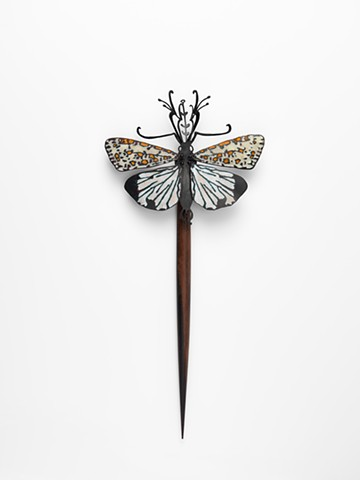 hairpiece inspired by a heliotrope moth observed on a camel trek in South Australia