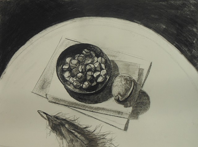 Still Life with Shell, Hazlelnuts and Feather