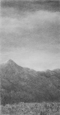 Katherine Meyer charcoal drawing desert mountains New Mexico