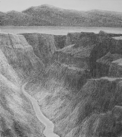 Katherine Meyer charcoal drawing desert New Mexico gorge mountains