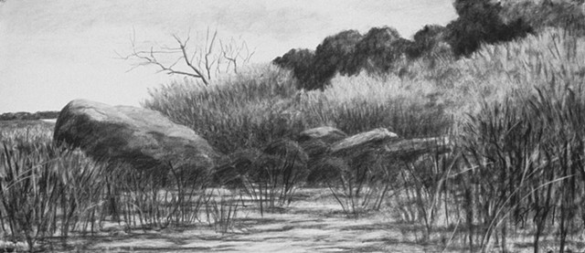Hog Island, Bristol Harbor Rhode Island charcoal drawing Katherine Meyer