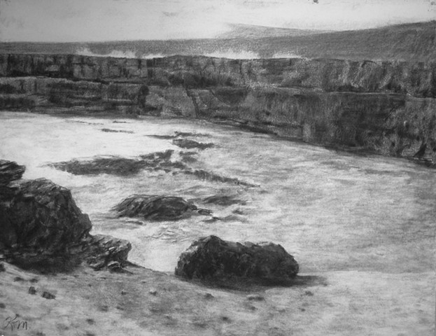 Hawaii big island volcano katherine meyer charcoal drawing