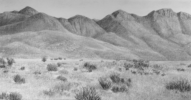 Katherine Meyer charcoal drawing desert New Mexico