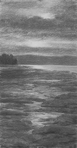 katherine meyer drawing charcoal Alameda california beach san francisco bay