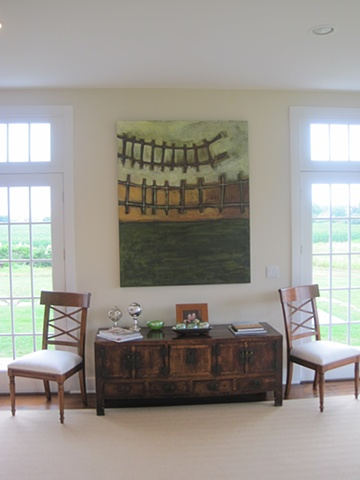 Abstract Fence line installation in a private residence,HAMPTONS