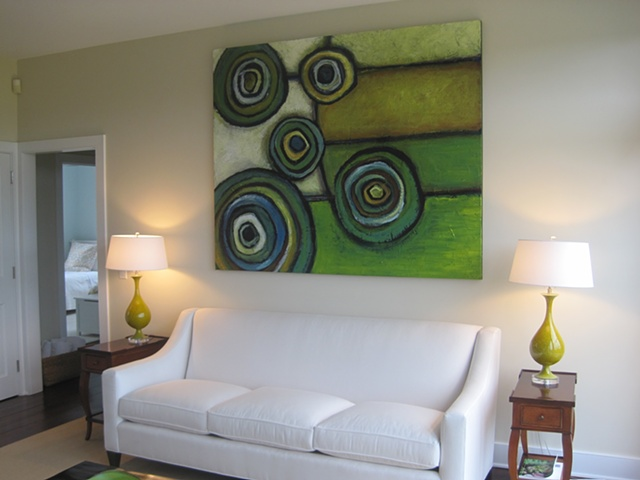 Circle abstract installation in a private residence,HAMPTONS