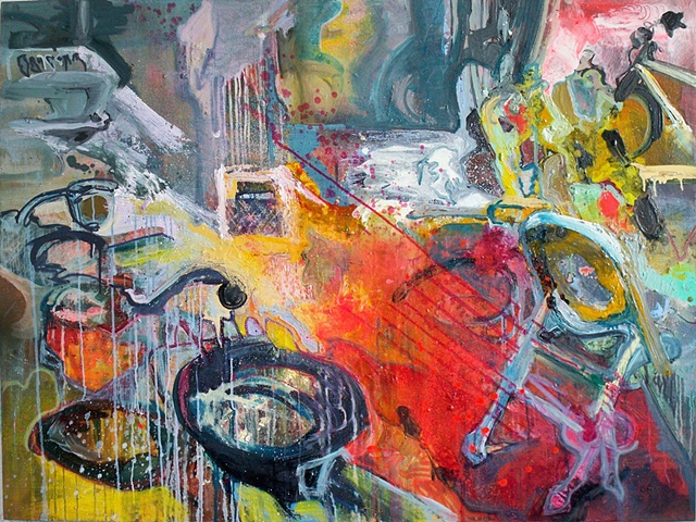 Untitled Kitchen Painting with a Frying Pan