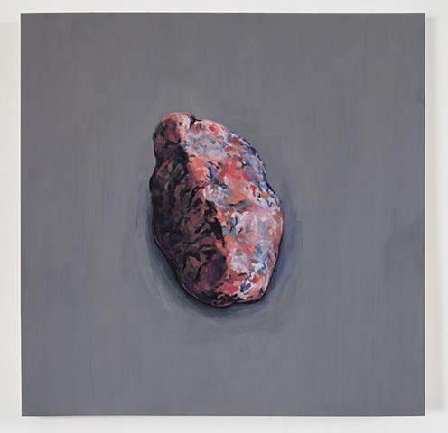 painting of small pink granite rock on gray background