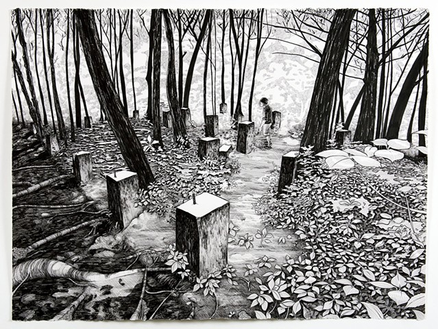ink drawing of person in forest landscape with rectangular pillar forms around them
