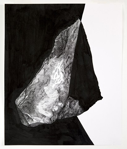 ink drawing of rock, black background on left side, white background on right