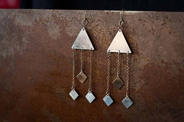 Tri-chain Earrings From the Arrow Collection