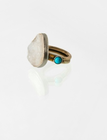 Snow White Druzy Ring