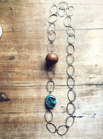 Can Opener Chain w/ Wood and Turquoise
