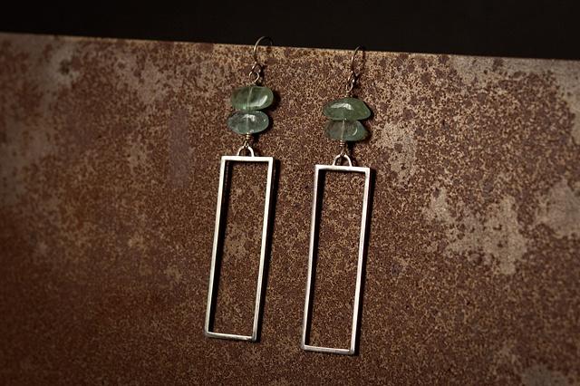 Squared Earrings w/ Aquamarine