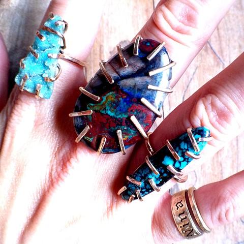 Chrysocolla Druzy + Apache Chrysocolla + Kingman Spiderweb Turquoise