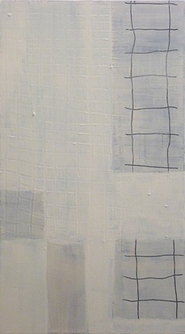 white acrylic painting of grids on canvas by Jay Hendrick