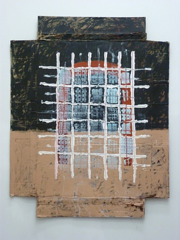 acrylic and oil painting of grids and street art on cardboard by Jay Hendrick