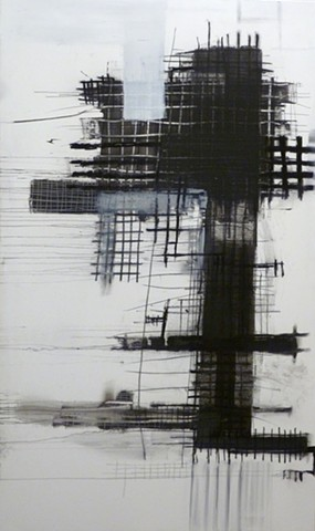 black and white charcoal and acrylic painting of grids on canvas by Jay Hendrick
